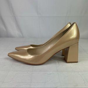 Marc Fischer gold LTD pointed toe block heel pump